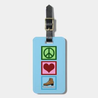 Peace Love Figure Skating Ice Skates Luggage Tag