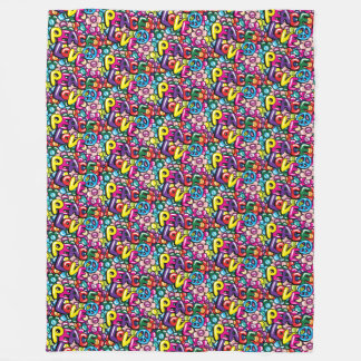 Peace, Love & Flowers Fleece Blanket