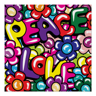 Peace, Love & Flowers Poster