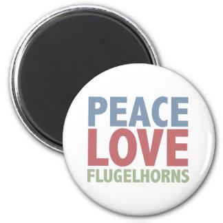 Peace Love Flugelhorns 6 Cm Round Magnet