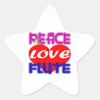 Peace Love flute Star Sticker
