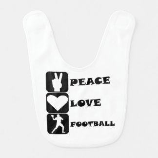 Peace Love Football Bib