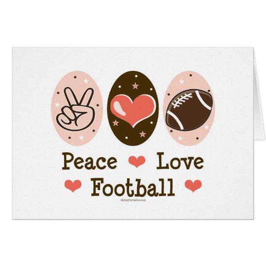 Peace Love Football Blank Greeting Card