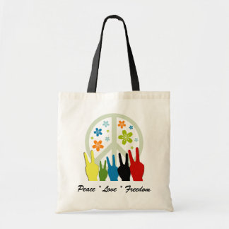 Peace Love Freedom Budget Tote Bag
