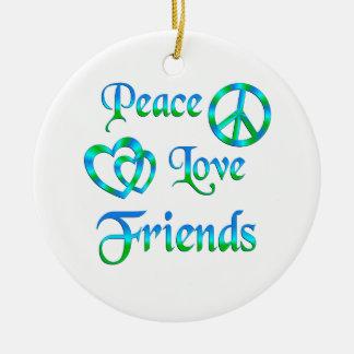 Peace Love Friends Ceramic Ornament