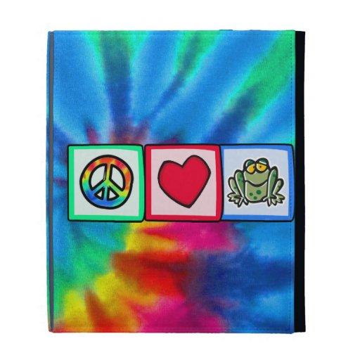 Peace, Love, Frogs iPad Folio Case