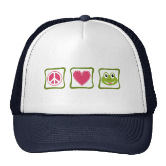 Peace Love Frogs Squares Trucker Hats