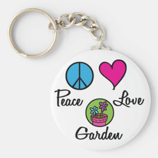 Peace Love Garden Basic Round Button Key Ring