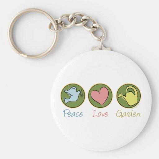 Peace, Love, Garden Keychain