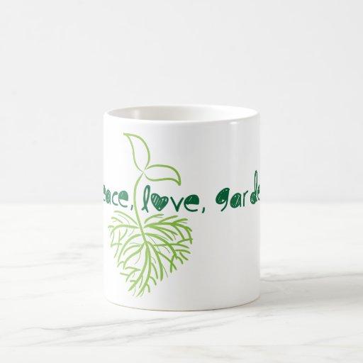 Peace, love & garden mug