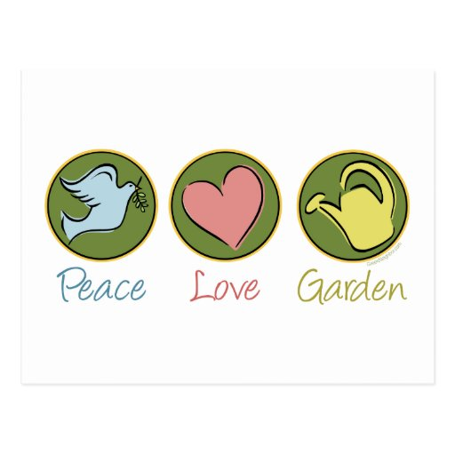 Peace, Love, Garden Postcard