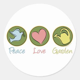Peace, Love, Garden Round Sticker