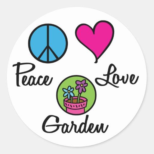 Peace Love Garden Round Stickers
