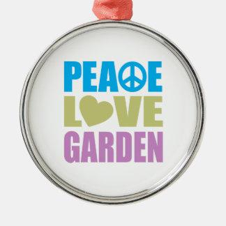 Peace Love Garden Silver-Colored Round Decoration