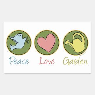 Peace, Love, Garden Rectangular Sticker