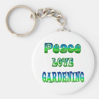 Peace Love Gardening Basic Round Button Key Ring