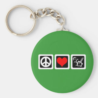 peace love gardening basic round button key ring