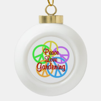 Peace Love Gardening Ceramic Ball Decoration