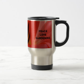 Peace Love Gardening Coffee Mug Red Tulip