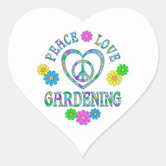 Peace Love Gardening Heart Sticker