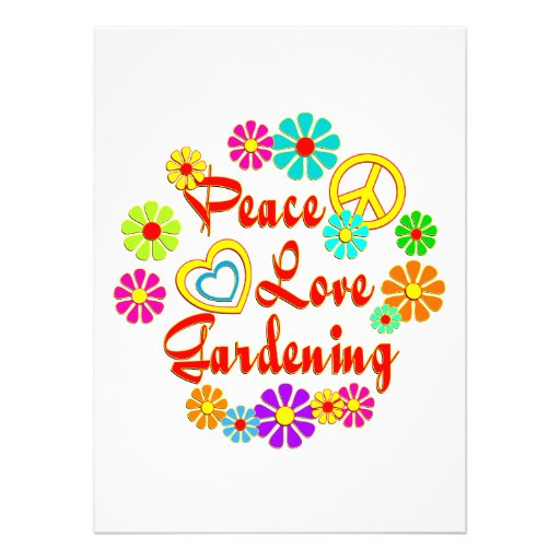 PEACE LOVE Gardening Personalized Announcements