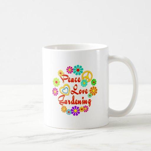 PEACE LOVE Gardening Coffee Mugs