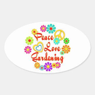 PEACE LOVE Gardening Oval Sticker
