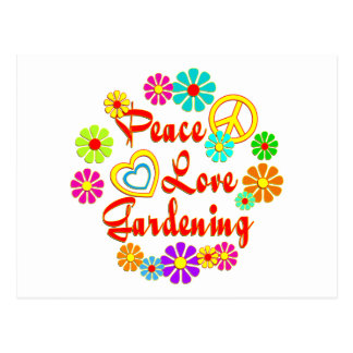 PEACE LOVE Gardening Post Card