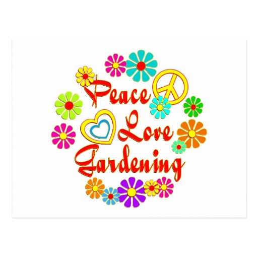 PEACE LOVE Gardening Post Card