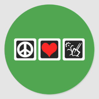 peace love gardening round sticker