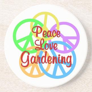 Peace Love Gardening Sandstone Coaster