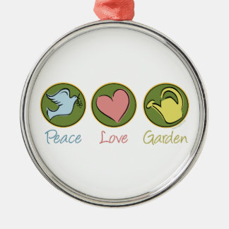 Peace Love Gardening Silver-Colored Round Decoration