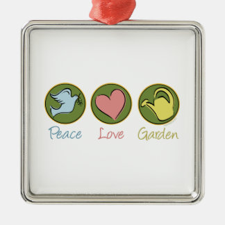 Peace Love Gardening Silver-Colored Square Decoration