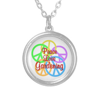 Peace Love Gardening Silver Plated Necklace