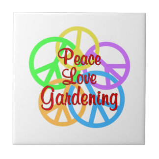 Peace Love Gardening Small Square Tile