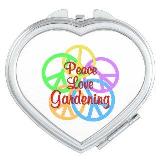 Peace Love Gardening Travel Mirror