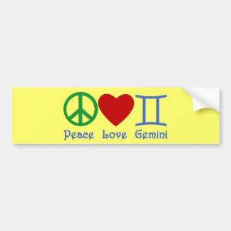 Peace Love Gemini Astrological Design Bumper Sticker