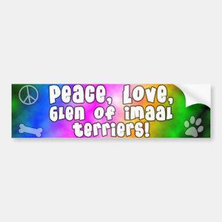Peace Love Glen of Imaal Terrier Bumper Sticker Car Bumper Sticker