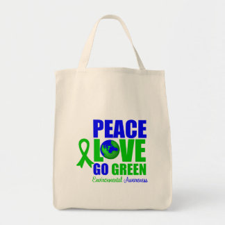 Peace Love Go Green Environment v2 Canvas Bags
