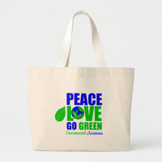 Peace Love Go Green For The Environment Bag