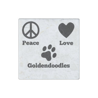 Peace Love Goldendoodles Stone Magnet