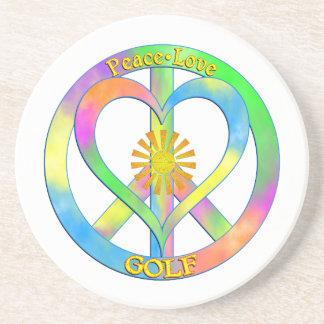 Peace Love Golf Beverage Coasters