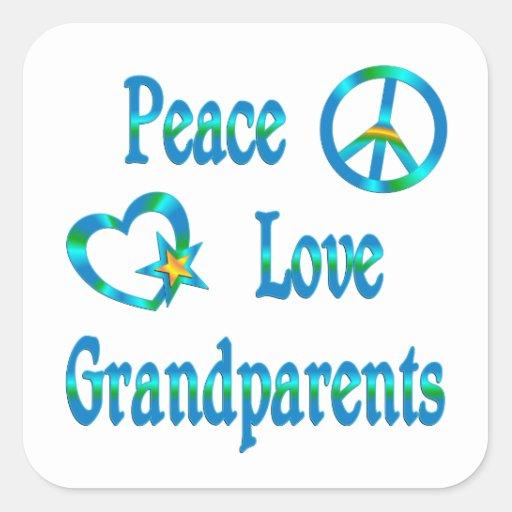 Peace Love Grandparents Square Stickers
