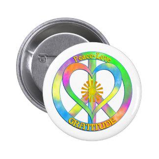 Peace Love Gratitude 6 Cm Round Badge