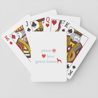 Peace Love Great Danes Playing Cards