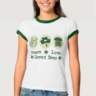 Peace Love Green Beer Ringer Tee Shirt