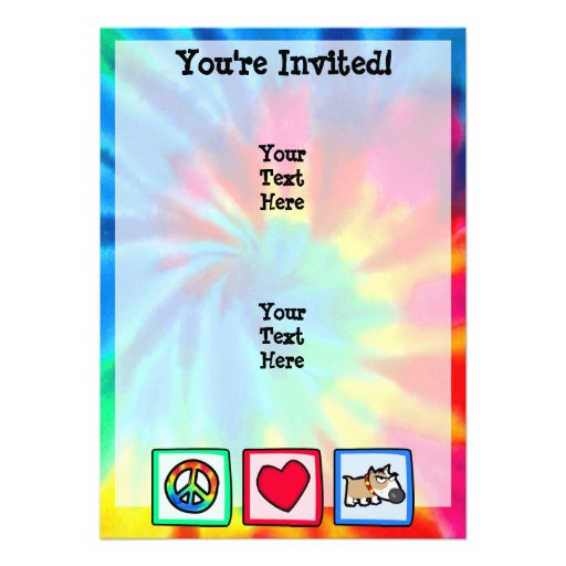 Peace, Love, Grumpy Dog Personalized Invitations