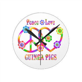 Peace Love Guinea Pigs Round Clock