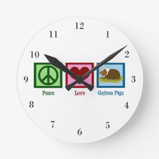 Peace Love Guinea Pigs Wall Clock