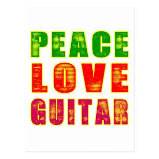 Peace Love Guitar Postcard